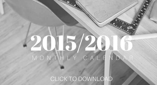 Free Download 20152016 Monthly Calendar Of Kin