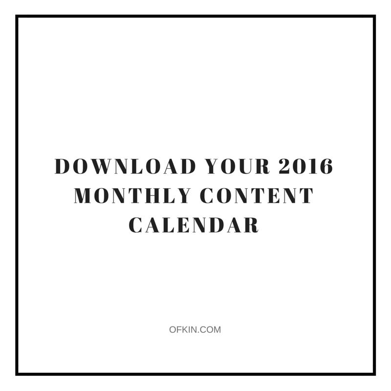 2016 Content Calendar