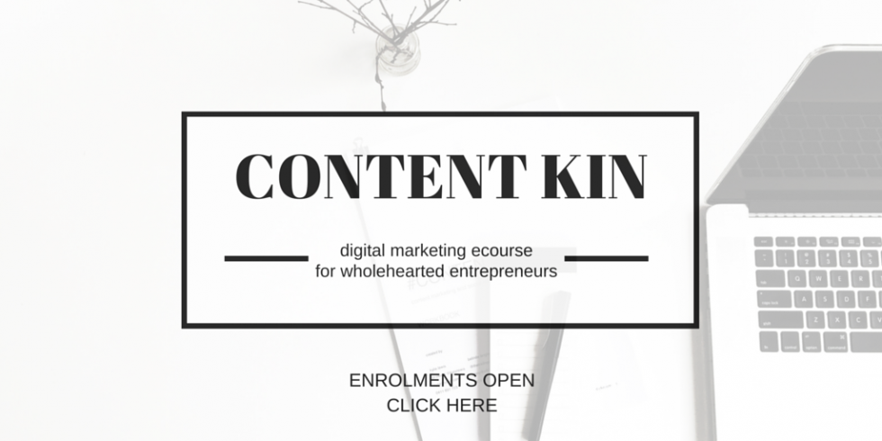 #ContentKin content marketing and social media ecourse by Kylie Lewis & Binny Langler
